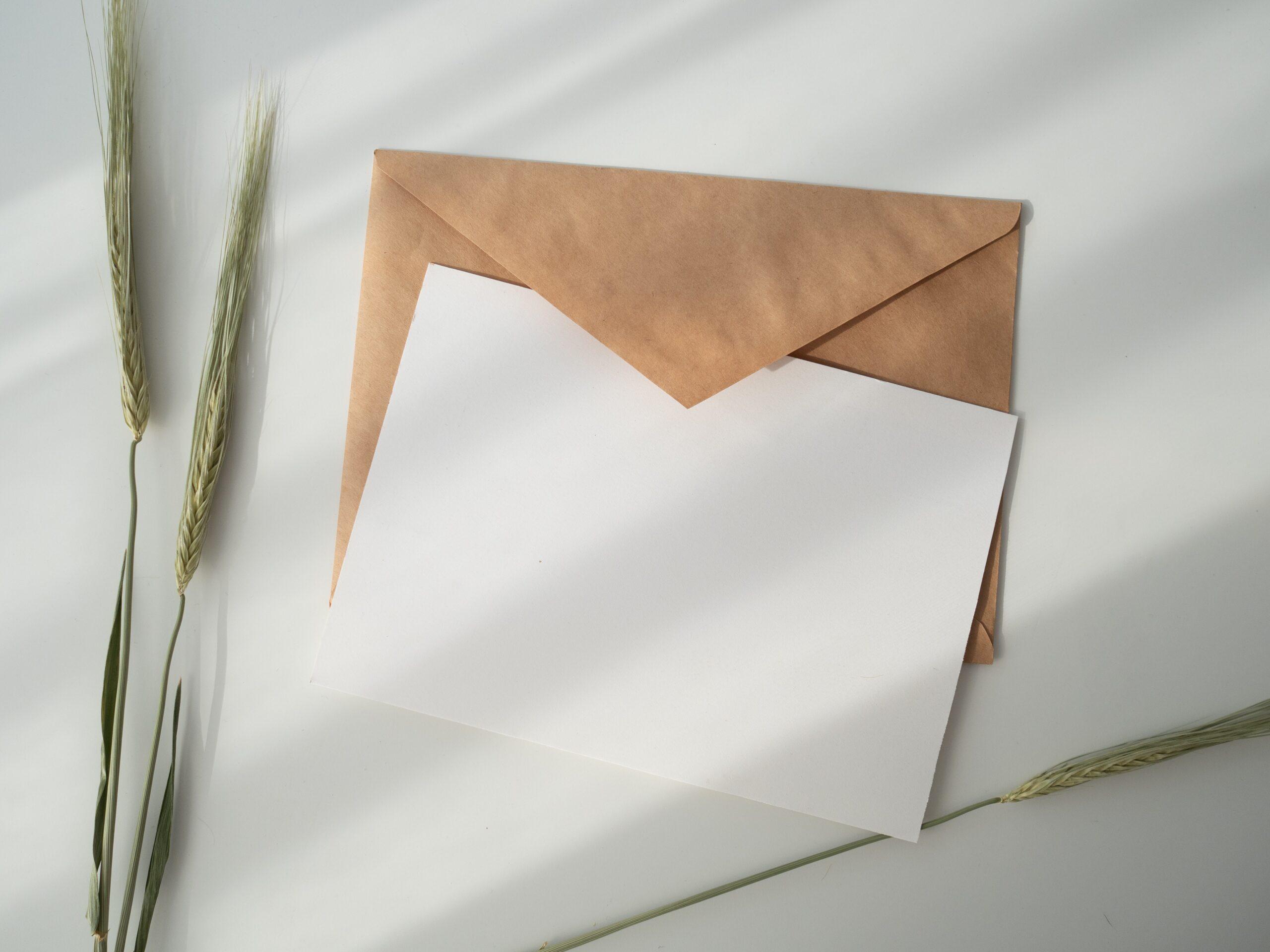 Zdjęcie szarej koperty i kartki leżące na jasnym blacie, obok źdźbło trawy
