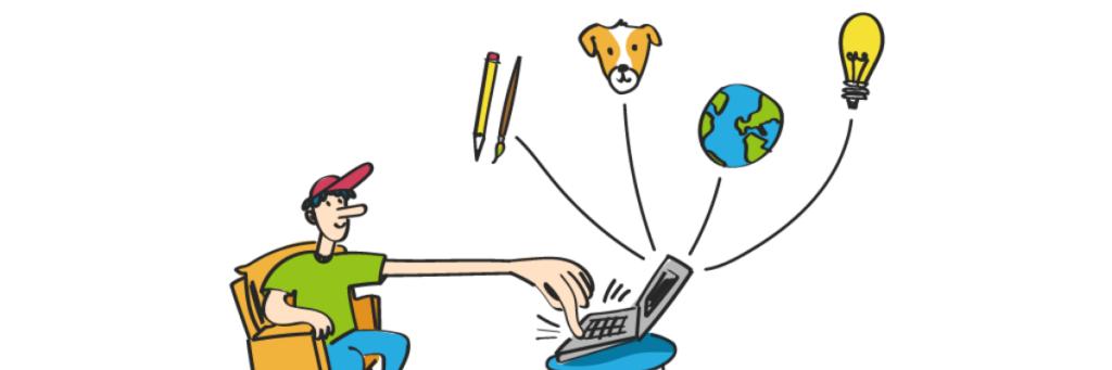Rysunek chłopca pomagającego przez internet. Infografika e-wolontariat